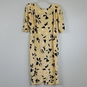 Vintage 80's Yellow/Black Print Midi Fitted Dress